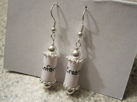 recycling: earrings made of paper