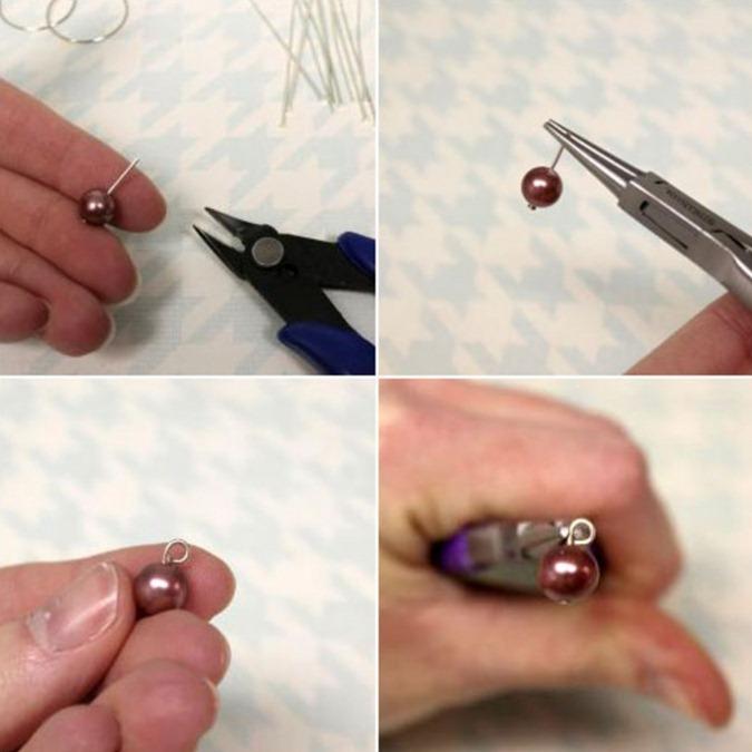 Как сделать сережки с искусственным жемчугом