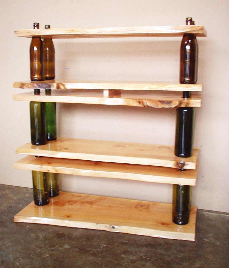 Деревянная полка из бутылок (9)