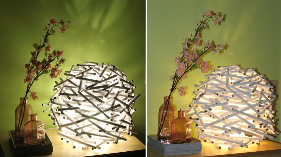 Необычный светильник из бумажных трубочек (1)