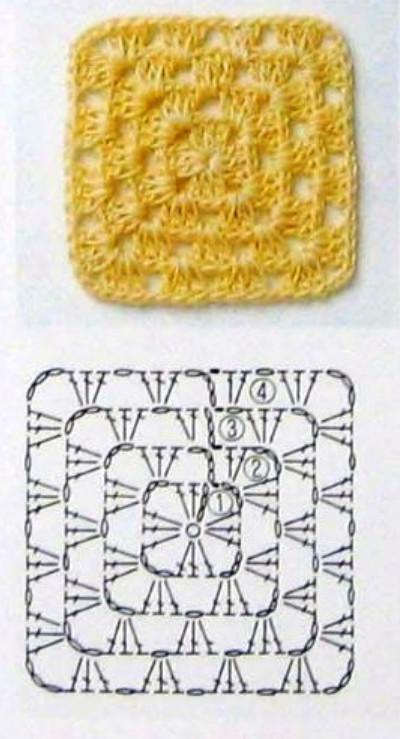 Как связать плед квадратами от угла (1)