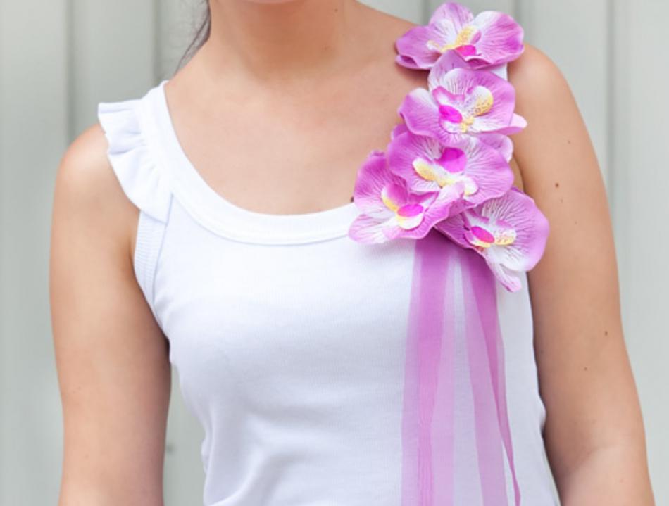 Орхидеи как украшение майки (7)