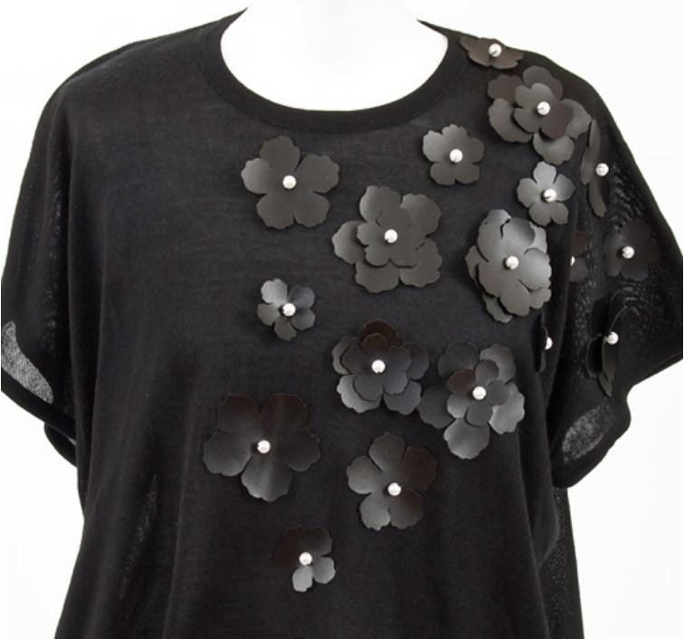 Украшение туники кожаными цветами (6)