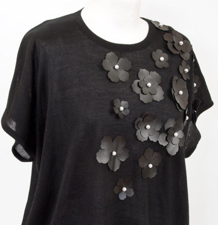 Украшение туники кожаными цветами (5)