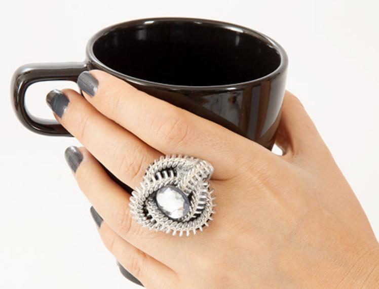 Как сделать кольцо из застежки-молнии (3)