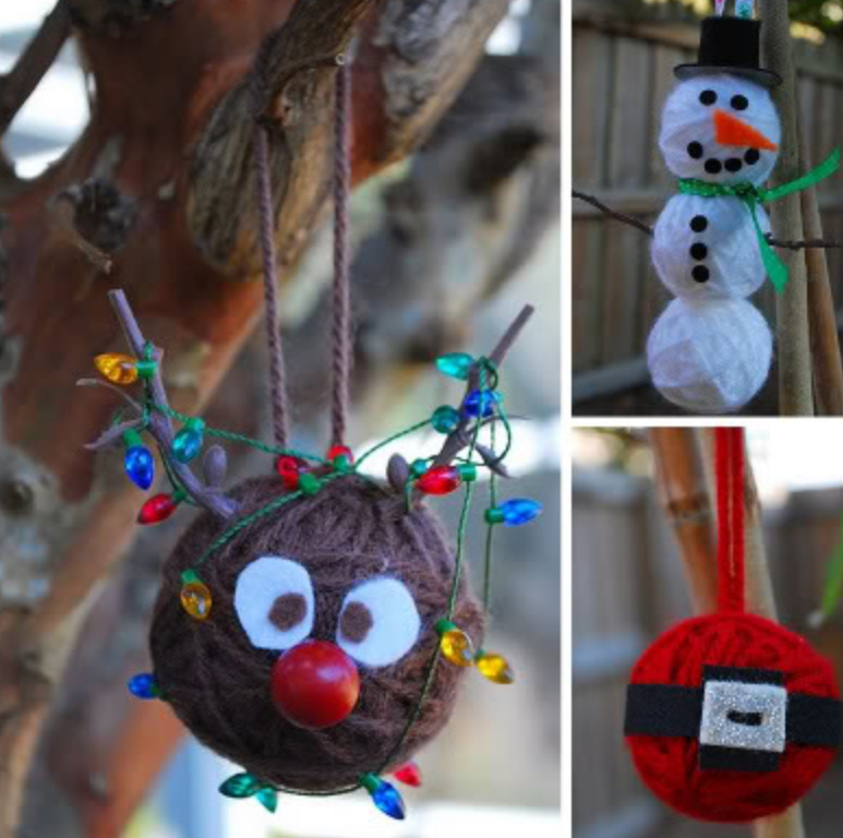 Как сделать игрушку на елку из остатков пряж (1)