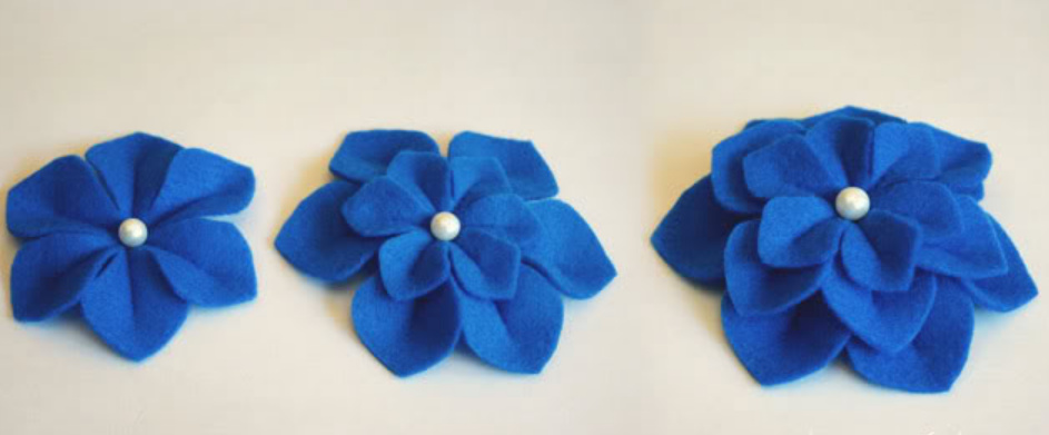 Как сделать объемные цветы из фетра (4)