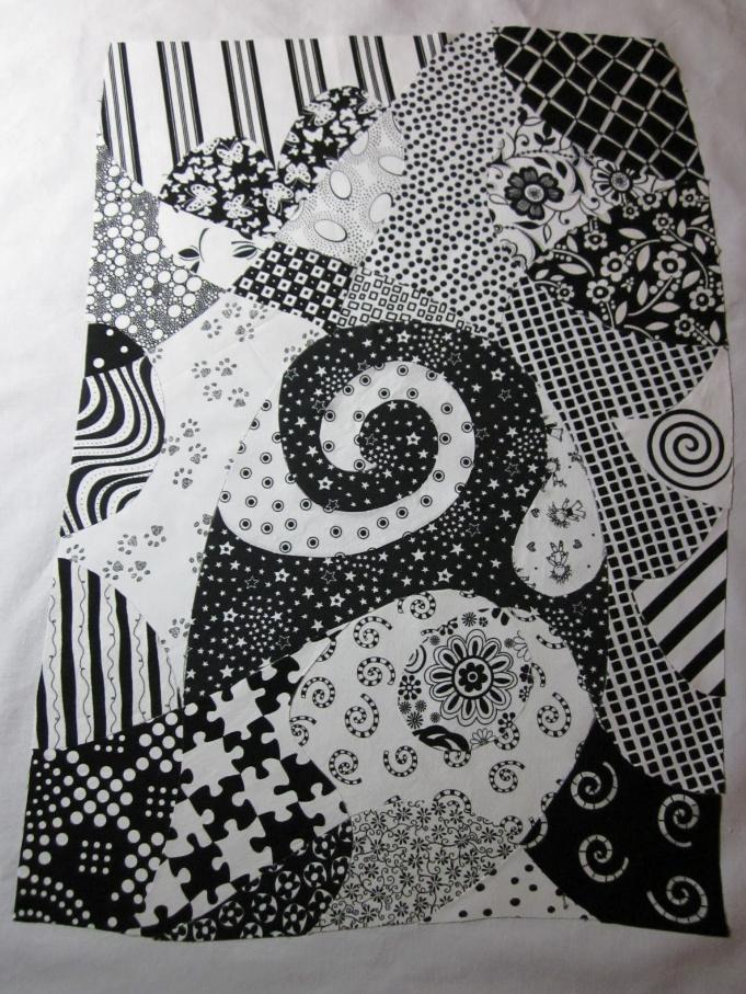 Как сшить черно-белое тканевое панно (4)