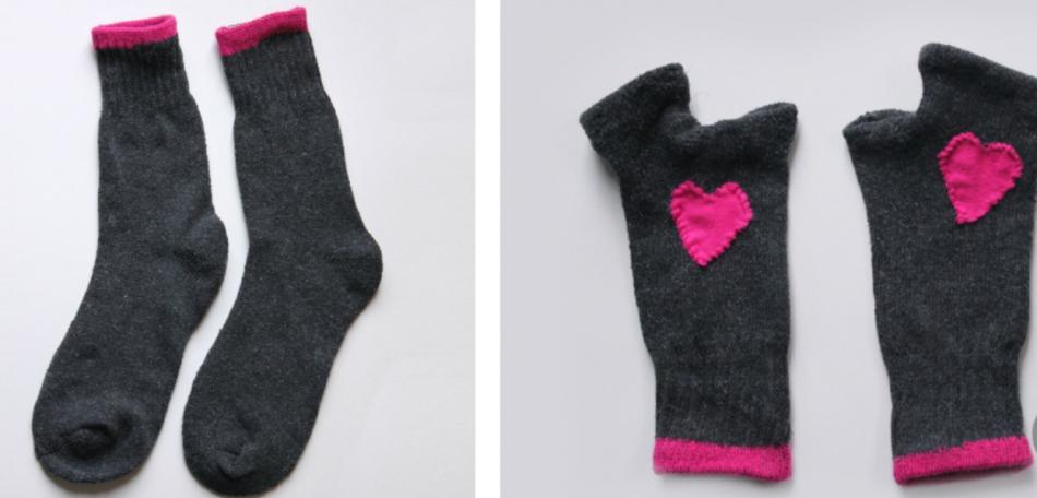 Как сшить митенки из носков (2)