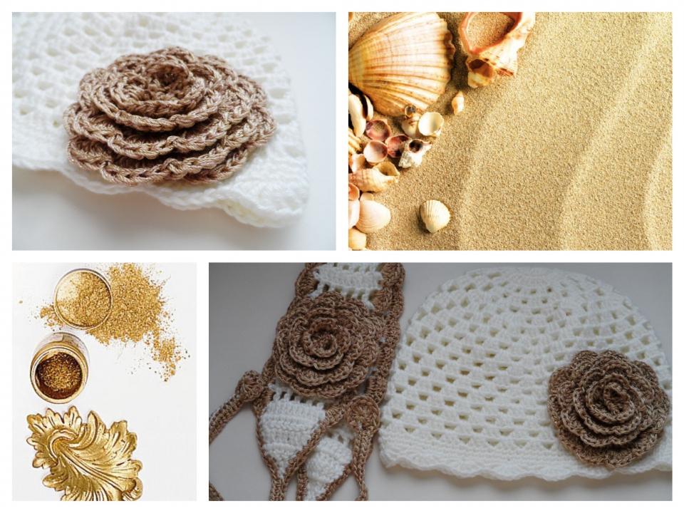 Весенняя шапочка для девочки под названием Золотой цветок
