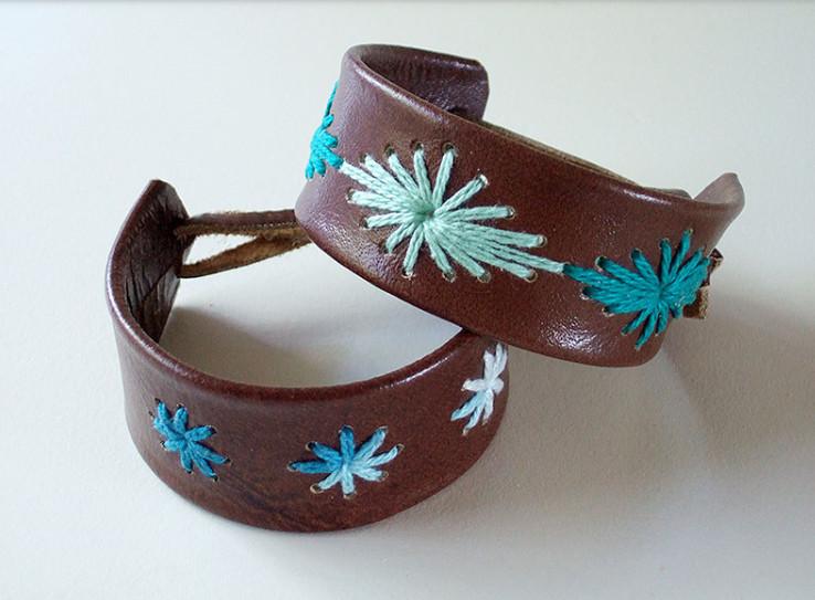 Кожаный браслет с вышивкой (2)