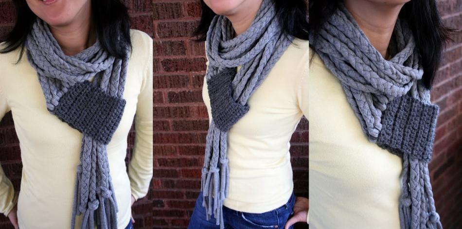 Креативный шарфик из трикотажа и вязаного элемента (13)