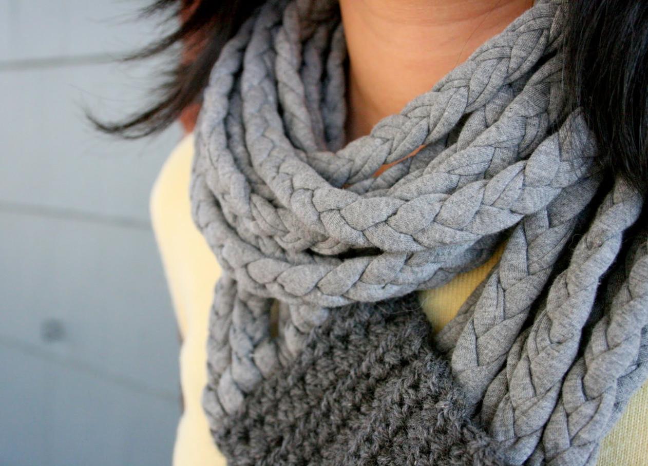 Креативный шарфик из трикотажа и вязаного элемента (12)