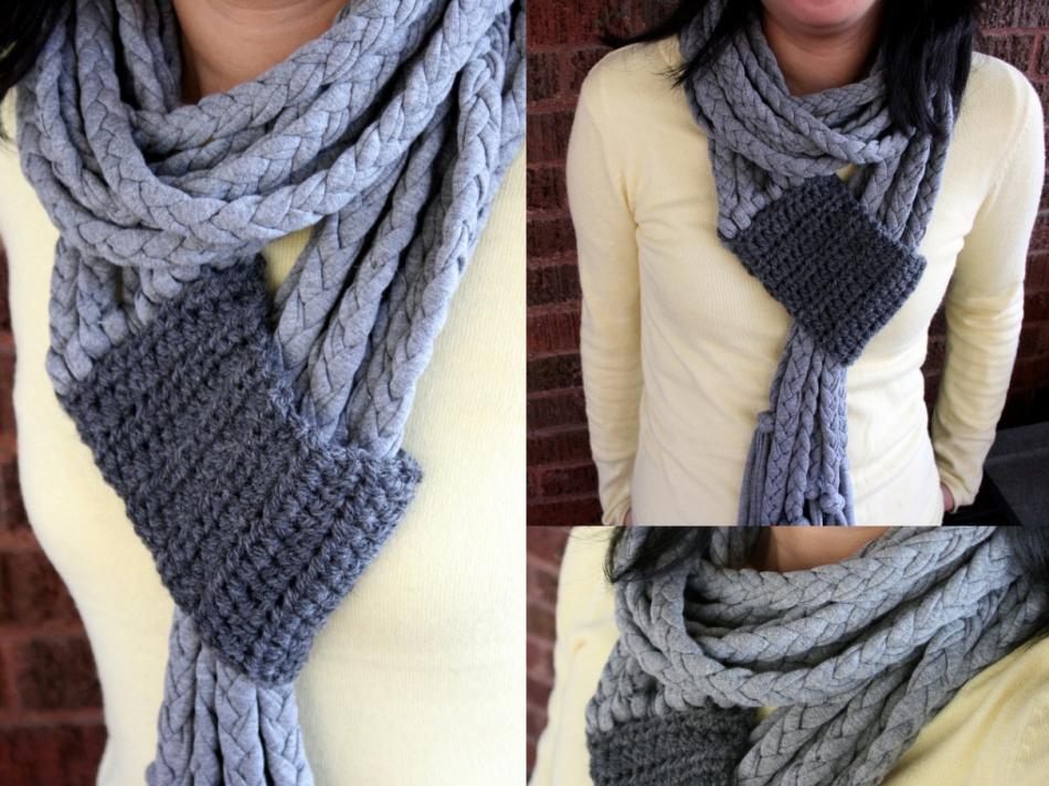 Креативный шарфик из трикотажа и вязаного элемента (11)