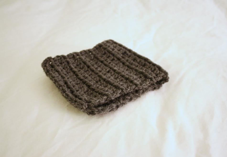 Креативный шарфик из трикотажа и вязаного элемента (10)