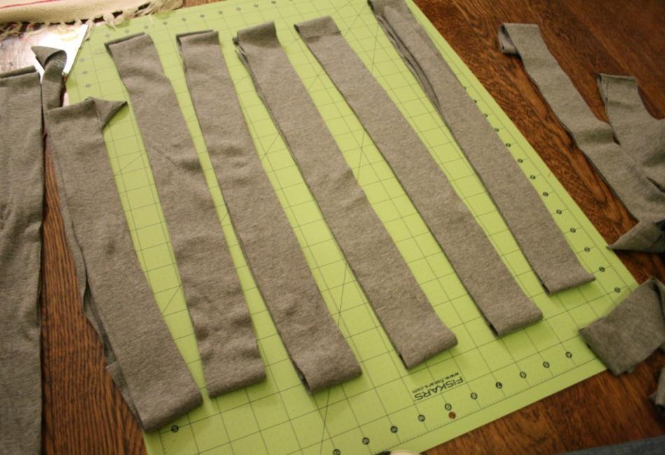 Креативный шарфик из трикотажа и вязаного элемента (9)