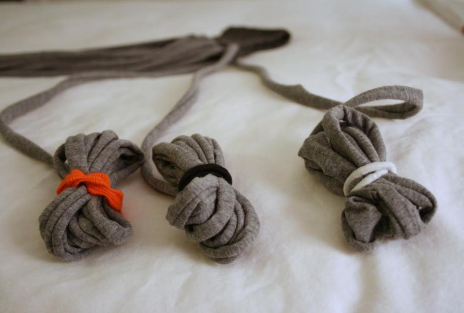Креативный шарфик из трикотажа и вязаного элемента (4)