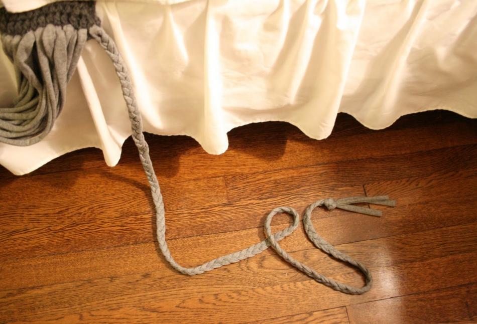 Креативный шарфик из трикотажа и вязаного элемента (2)