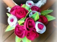 Как сделать букет цветов из ткани (5)