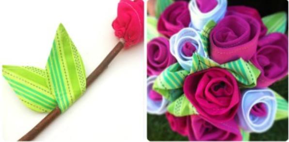 Как сделать букет цветов из ткани (4)