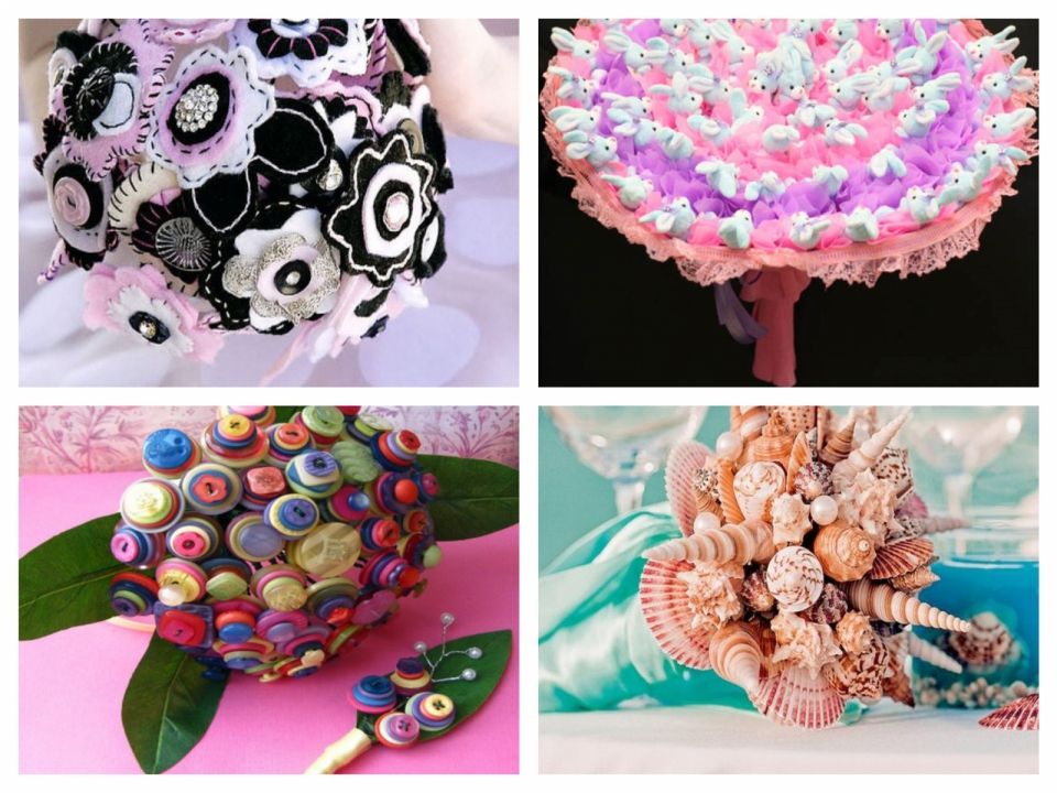 Как сделать букет цветов из ткани (1)