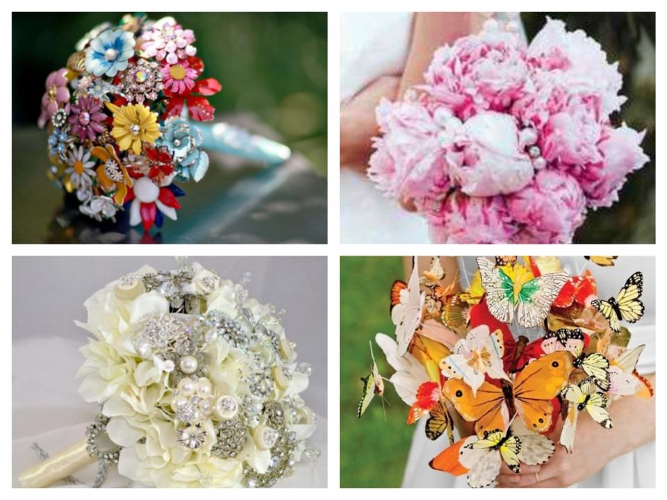 Как сделать букет цветов из ткани (2)