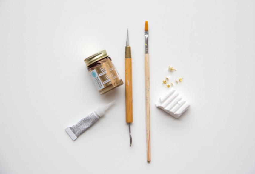 Серьги-пусеты золотого цвета (6)