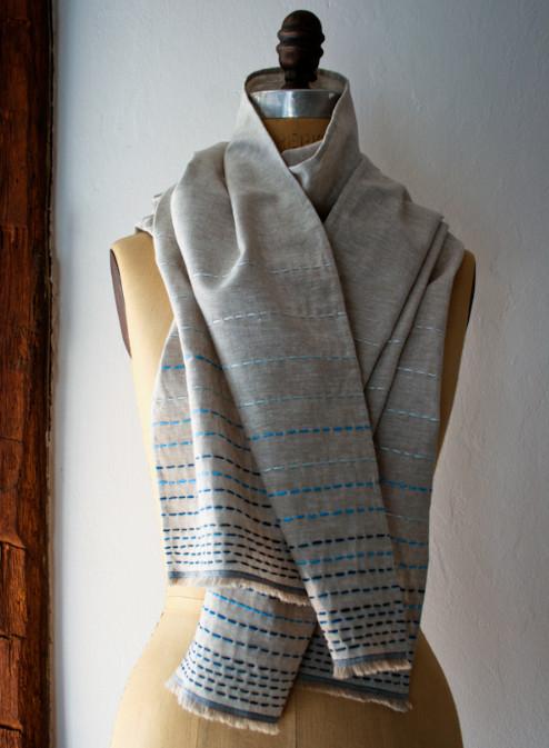 Льняной шарф в бохо-стиле (3)