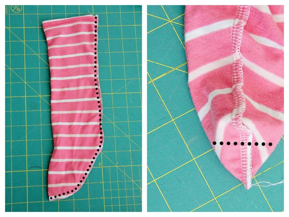 Как сшить носки для дома из остатков ткани