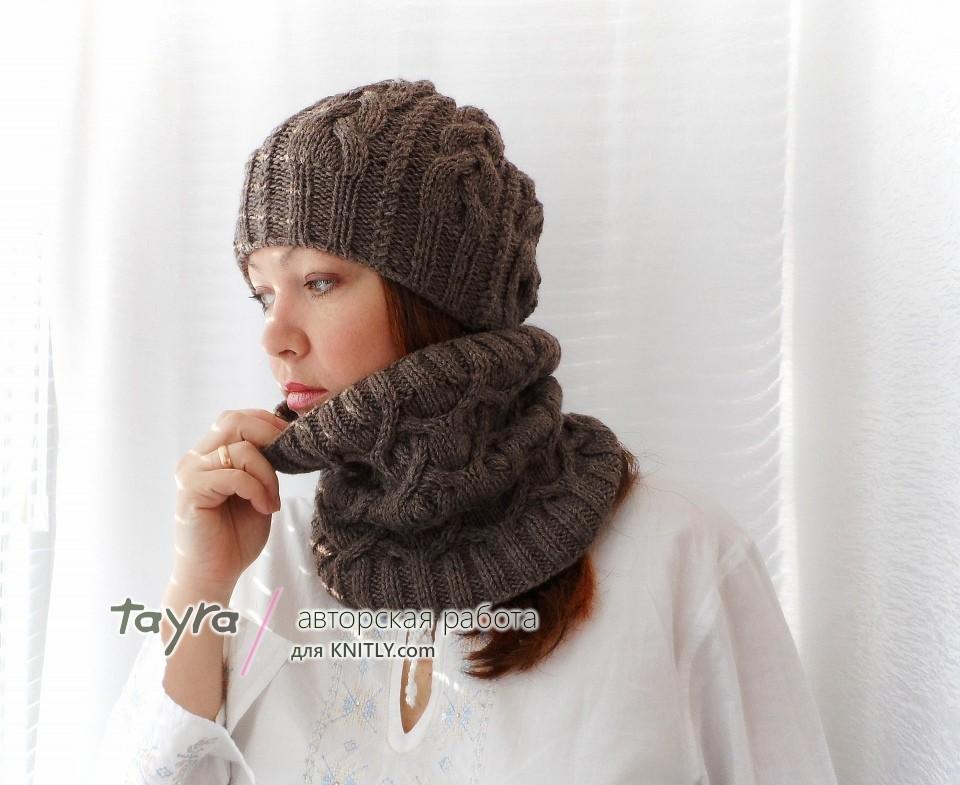 шарф-снуд в окружности 60