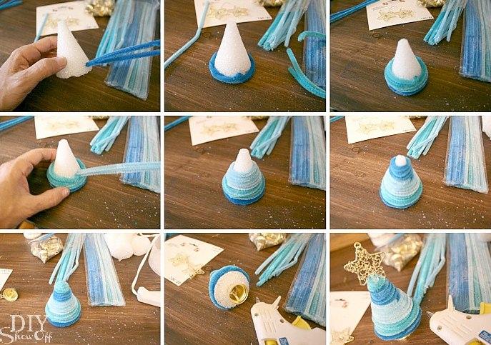 Новогодние игрушки в синей гамме