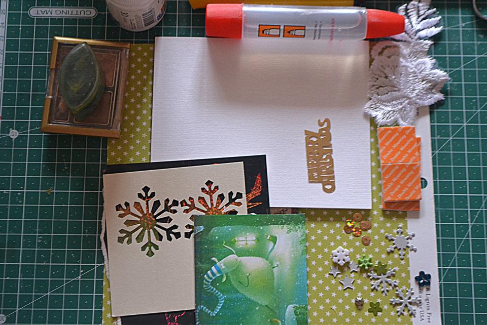 Необходимые материалы для новогодней открытки, сделанной своими руками